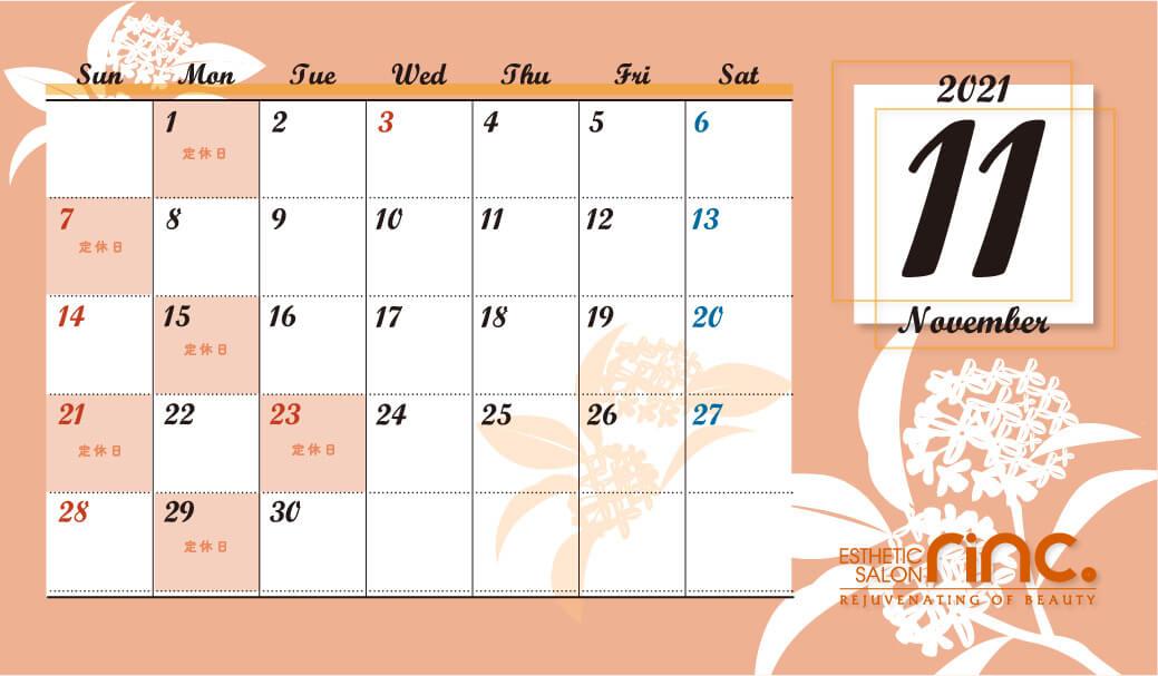 11月定休日カレンダー